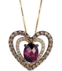 le vian raspberry rhodolite garnet (1 ct. t.w.) and diamond (5/8 ct. t.w.) heart pendant necklace in 14k gold