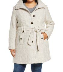 plus size women's gallery belted tweed coat with hood, size 1x - beige