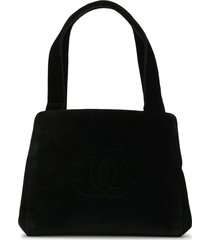 chanel pre-owned interlocking cc stitched tote - black