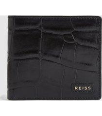 reiss benson - croc embossed leather wallet in black, mens