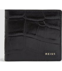 reiss benson - croc embossed leather wallet in black, mens