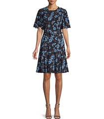 moody floral-print mini dress