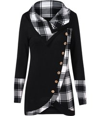 turtleneck tartan tunic sweatshirt