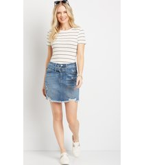 kancan™ womens high rise belted ripped utility blue denim skirt - maurices