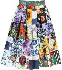 patchwork poplin skirt