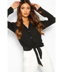 blouse met strik, zwart