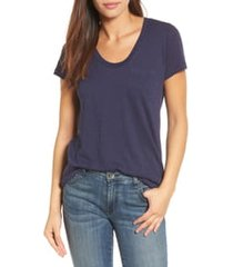 women's caslon rounded v-neck tee, size xx-large - blue