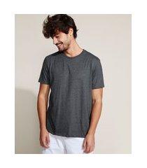camiseta masculina manga curta gola careca cinza mescla escuro
