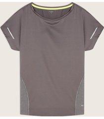 camiseta básica silueta amplia con cortes en malla laterales-l