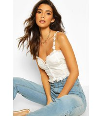 embroidered mesh button through crop top, ivory