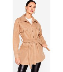womens shirt-y little secret belted longline jacket - camel