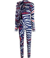 atu body couture animal-print bodycon jumpsuit - blue