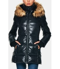s13 gramercy down puffer coat with faux-fur-trim hood