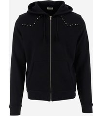 saint laurent designer sweatshirts, black cotton jersy men's zipped and studded hoodie