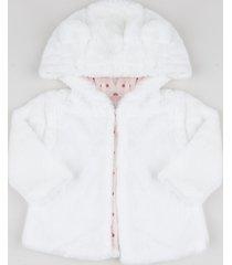 jaqueta infantil de pelo com capuz e orelhinhas off white