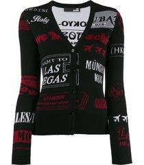 love moschino slim-fit cities cardigan - black