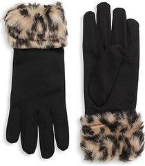 animal-print faux fur-cuff gloves