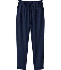broek van tencel™ vezels met deels elastische tailleband en ruche, nachtblauw 46