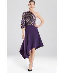 crepe asymmetrical skirt, women's, size 2, josie natori