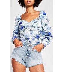 river island womens light blue denim high waist hot pant shorts
