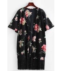 textured fringed floral kimono