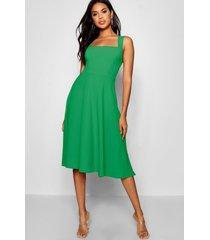 square neck midi skater dress, green
