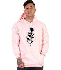 moletom algodão masculino caveira rosas bolso canguru casual
