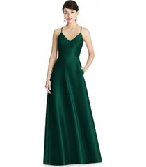 alfred sung crisscross satin gown