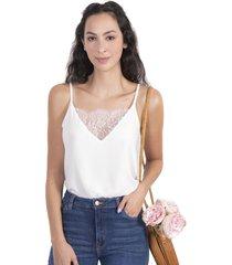 blusa blanca de tiras con encaje en escote flashy
