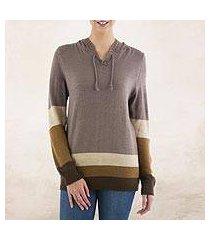 hoodie sweater, 'brown imagination' (peru)