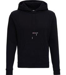 saint laurent jersey hoodie with logo print