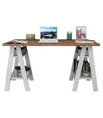 mesa escrivaninha appunto self com 4 prateleiras castanho/branco