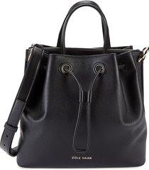 cole haan women's leather bucket bag - black
