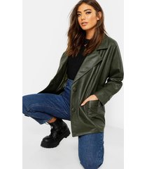 belted wrap faux leather jacket, khaki