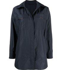 brunello cucinelli belted shirt jacket - blue