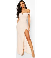 bardot maxi dress, nude