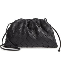 bottega veneta small the pouch leather clutch - black