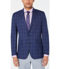 kenneth cole reaction men's slim-fit blue/gray plaid sport coat