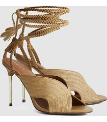reiss minerva - braided ankle strap sandals in gold, womens, size 10