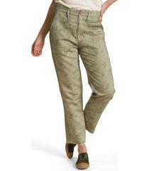 pantalon de lino verde petróleo rockford