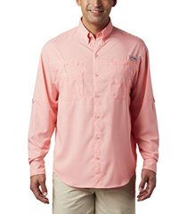 camisa hombre tamiami ii ml coral neón columbia