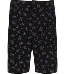 bermuda mujer flores lilas color negro, talla 12