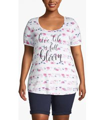 lane bryant women's in full bloom graphic high-low tee 22/24 white and pink