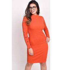 vestido manga larga naranja 609 seisceronueve