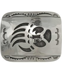 bear paw overlay belt buckle stamped silver longmire design navajo r wood
