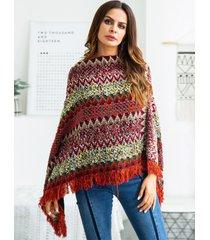 cardigan in maglia irregolare a righe con nappe per donna