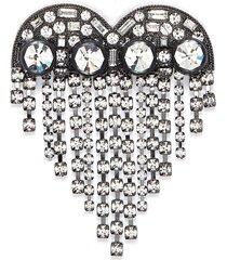 glass crystal fringe heart hair clip