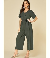 yoins army green self-tie design v-neck short sleeves jumpsuit
