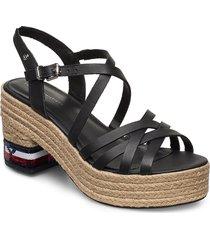 tommy sequins mid heel sandal sandalette med klack espadrilles svart tommy hilfiger