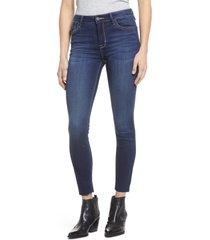 women's hidden jeans raw hem stretch ankle skinny jeans, size 29 - blue